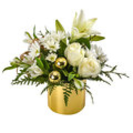 Blitzen.    Gold/Black Vase of White Roses, Lillies and includes Christmas Bush with gold baubles.