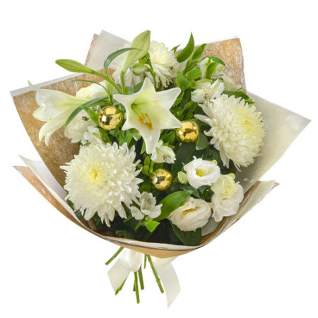 Star Bright . Large  Hand Tied Bouquet of White Blooms Gift Wrapped