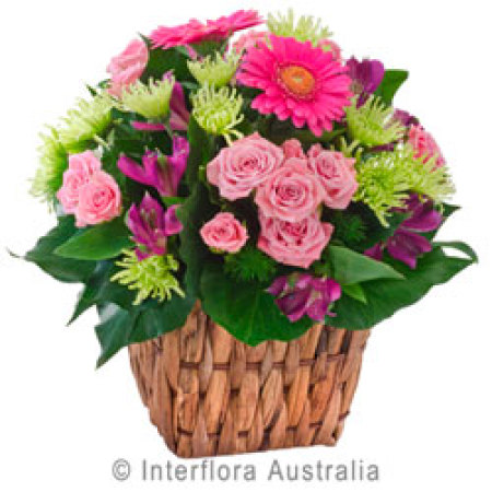 Basket Arrangement of Colourful Flowers