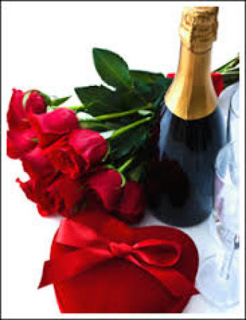 12 Red Roses Champagne and chocolates