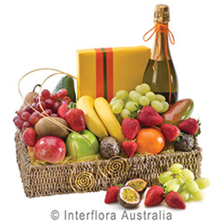 Fruit Wine and Chocolates  Basket Gift Wrapped
