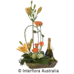 modern basket arrangement with wine